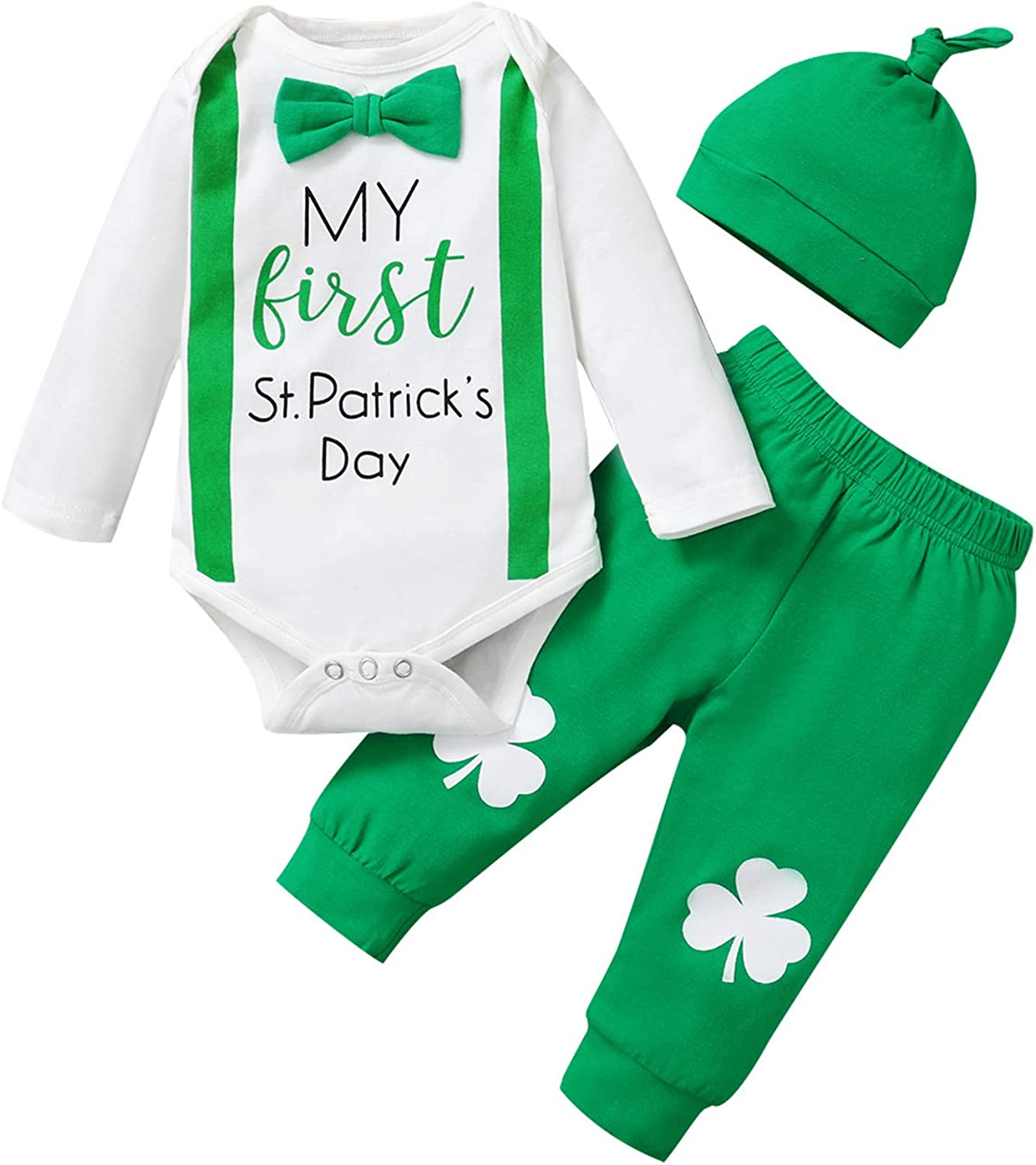 My First St Patricks Day Baby Boy Girl Clothes Set Bodysuit Pants Hat Newborn Gentleman Outfits 3PC