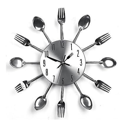 Nclon Cocina Reloj de Pared,3D Redondo Creativo Cuchillería Cuchara Tenedor Espejo Pared Etiqueta Pegatina