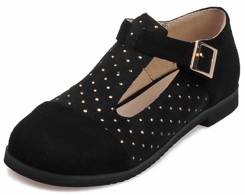 Summerwhisper Women's Casual Contrat Color Round Toe Rivets Studded T-Strap Low Heel Wide Width Pumps Shoes Black 13 B(M) US
