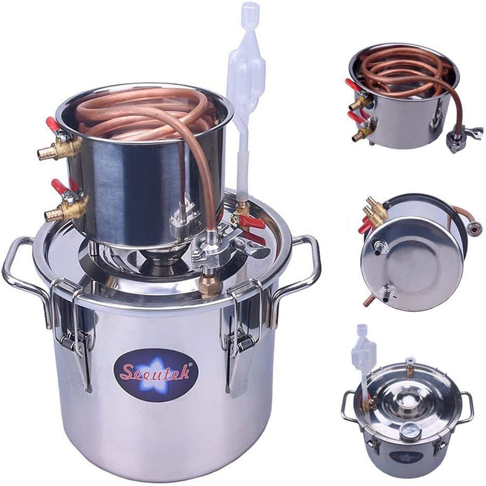 Seeutek 5 Gallon 18L Copper Tube Moonshine Still Spirits Water Alcohol Distiller Home Brew Wine Making Kit Stainless Steel Oil Boiler, 5Gal, Silver