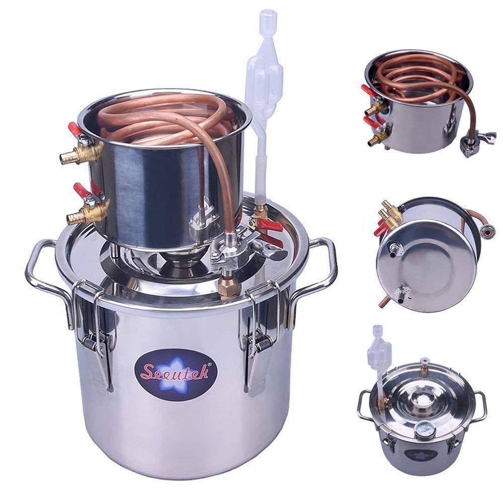 Seeutek 5 Gallon 18L Copper Tube Moonshine Still Spirits Water Alcohol Distiller Home Brew Wine Making Kit Stainless Steel Oil Boiler, 5Gal, Silver by Seeutek
