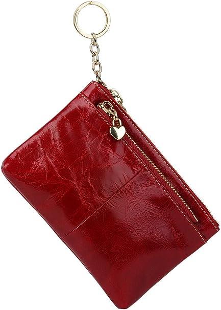 Vera Pelle Portachiavi Zip Pouch Coin Key Holder Carta Soldi Monete Borsetta Portafoglio