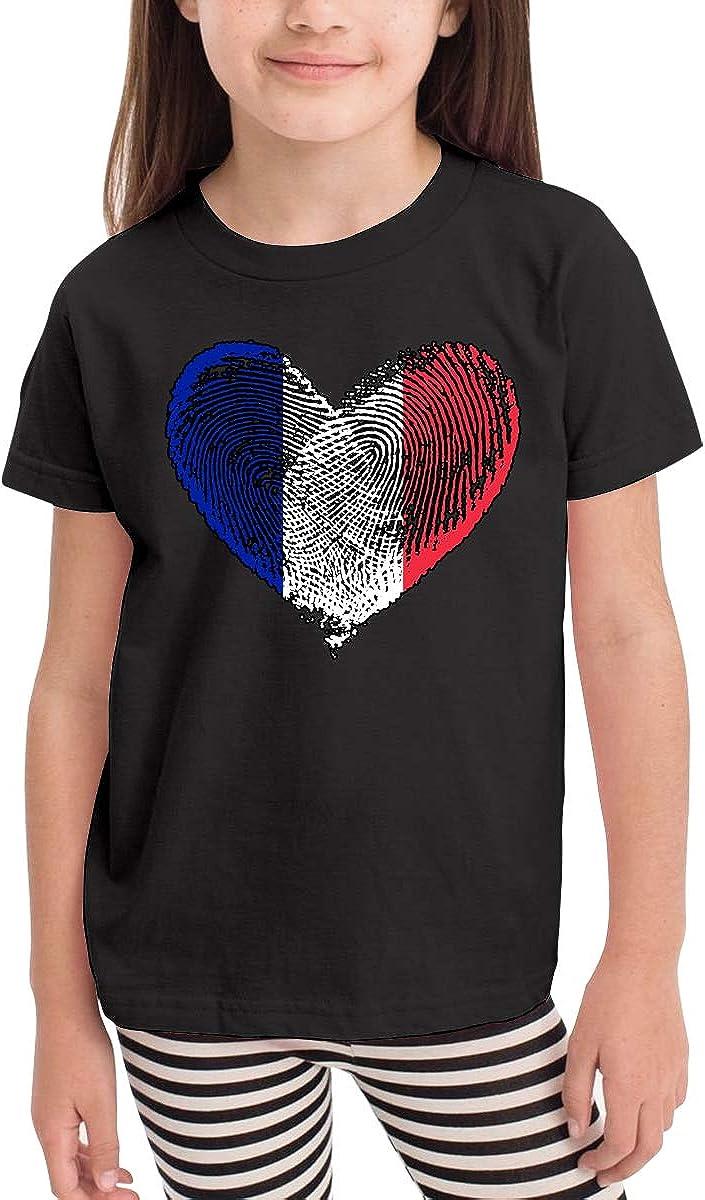SHIRT1-KIDS France Flag Fingerprint Heart Toddler//Infant Crew Neck Short Sleeve Shirt T-Shirt for Toddlers