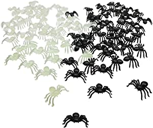 Bilipala Realistic Small Plastic Spider Toys of Black and Glow in The Dark for Scary Prank Props Halloween Decor Supplies, 100 Counts
