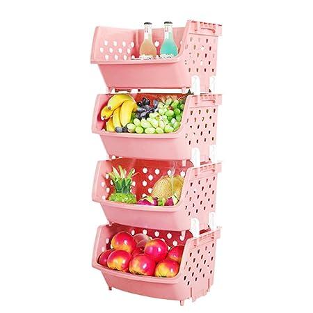 Vicoki 4 Pack Fruit Baskets Assembled Vegetable Storage Rack Plastic ...