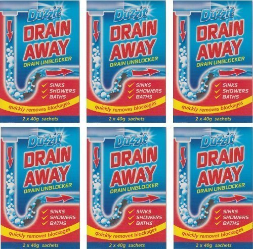 6 x Boxes Of Duzzit Drain Away - 2 x 40g Sachets Sink Drain Unblocker