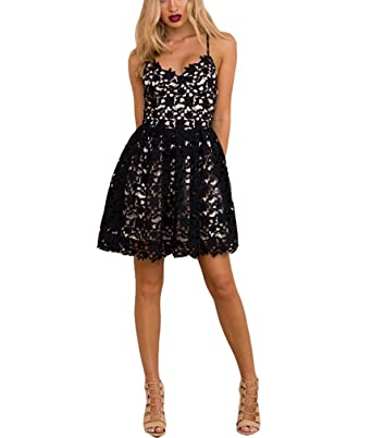 Nicefashion Womens Sexy Backless Corset Short Bridesmaid Dresses Cheap Lace Formal Dress Black US2