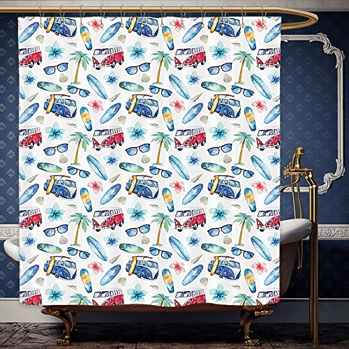 Wanranhome Custom-made shower curtain Surf Decor Ocean Sunglasses Van Surfing Board Palm Trees Tropical Flower Summer Seaside Theme Set Sky Blue Yellow For Bathroom Decoration 72 x 84 - Meme Sunglasses Inside
