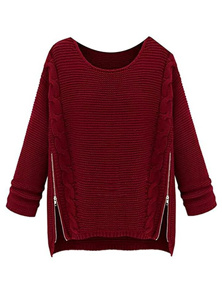 Wicky LS Women's Losse Fit Knitted Sweater Pullovers with Side Zipper