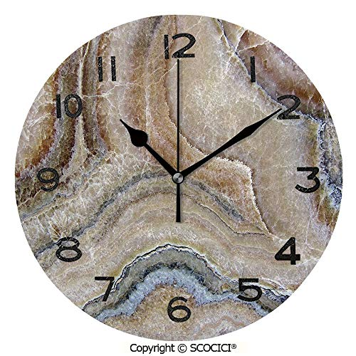 SCOCICI Print Round Wall Clock, 10 Inch Surreal Onyx Stone Surface Pattern with Nature Details Artistic Picture Decorative Quiet Desk Clock for Home,Office,School