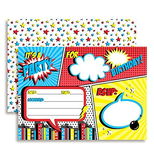 Super Hero Comic Book Birthday Party Invitations for Boys, 20 5