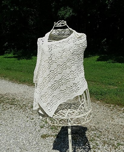 White Alpaca & Silk Hand Knit Wrap / Stole ~ Elegant Luxurious Gift for that Special Someone by Barnett's Creek Farm,LLC