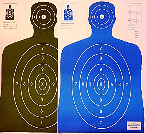 Son of A Gun Paper Shooting Targets, HIGH Shot Placement Visibility, Life Size B-27 Silhouettes, Black and Bright Blue Package, 100 Total Count, GET More Bang for Your Buck! Best Prices Anywhere!