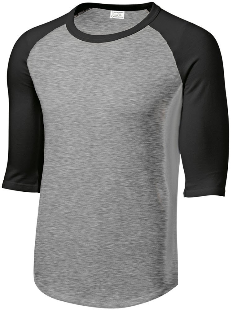 Mens 3/4 Sleeve 100% Cotton Baseball T-Shirt, Heather Grey/Black, Size Large
