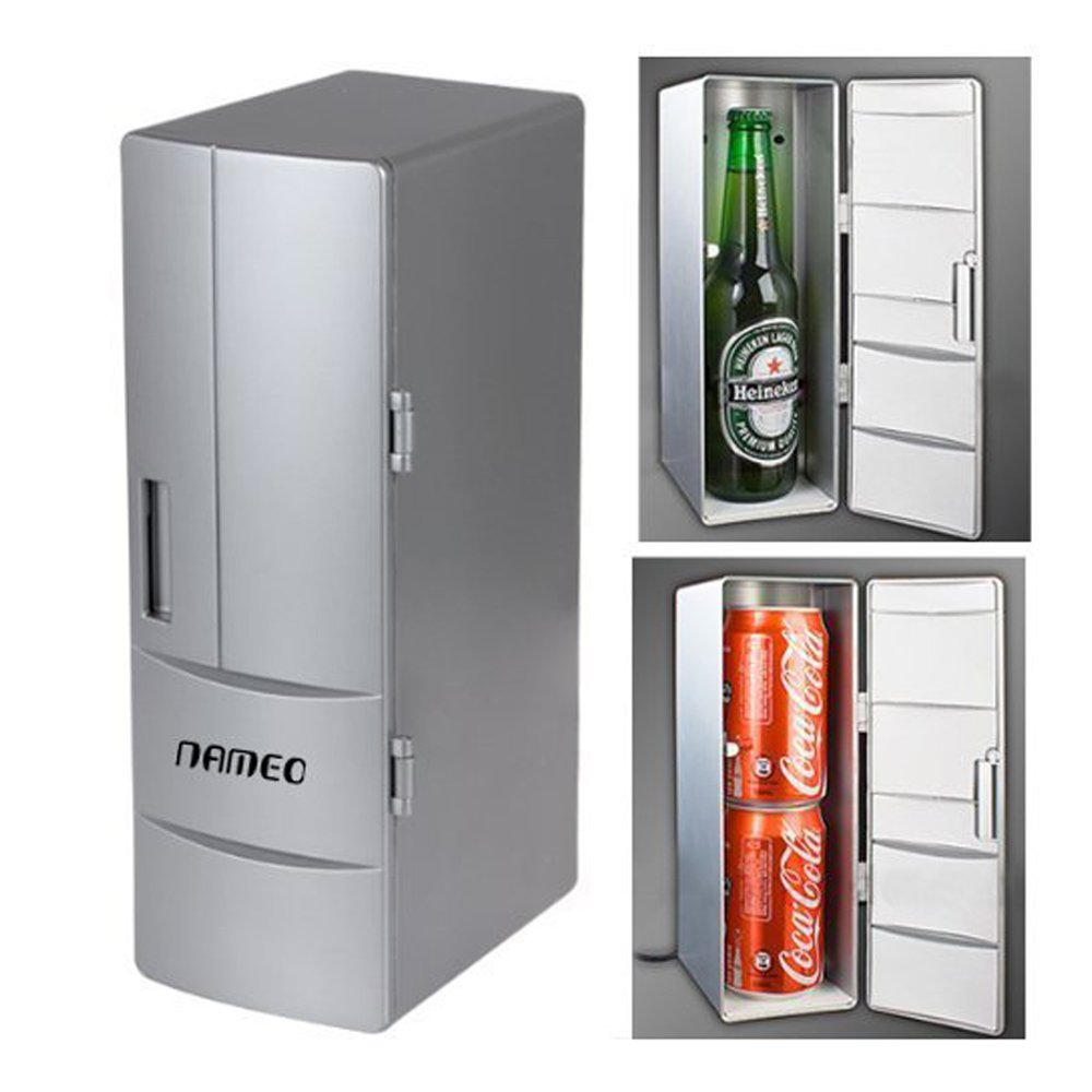 NAMEO Mini USB Fridge Beverage Drink Cans Cooler Warmer Refrigerator with 2 Switch Modes (Plug & Play)
