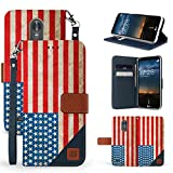 LG Stylo 3, Stylo 3 Plus, Stylus 3, LS777 Case, Trishield Gear Dual Layer Blue Synthetic Leather Magnetic Closure Flip Wallet Cover With Kickstand Wrist Strap - American Flag