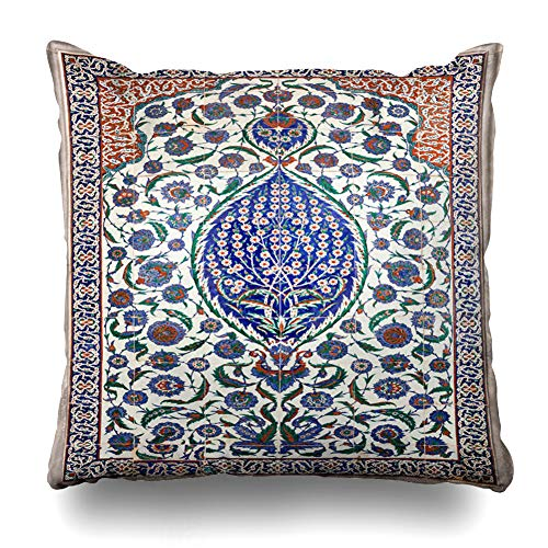 Ahawoso Throw Pillow Cover Square 20x20 Blue Flower Turkish Floral On Tiles Abstract Mosaic Ottoman Vintage Istanbul Zippered Cushion Case Home Decor Pillowcase