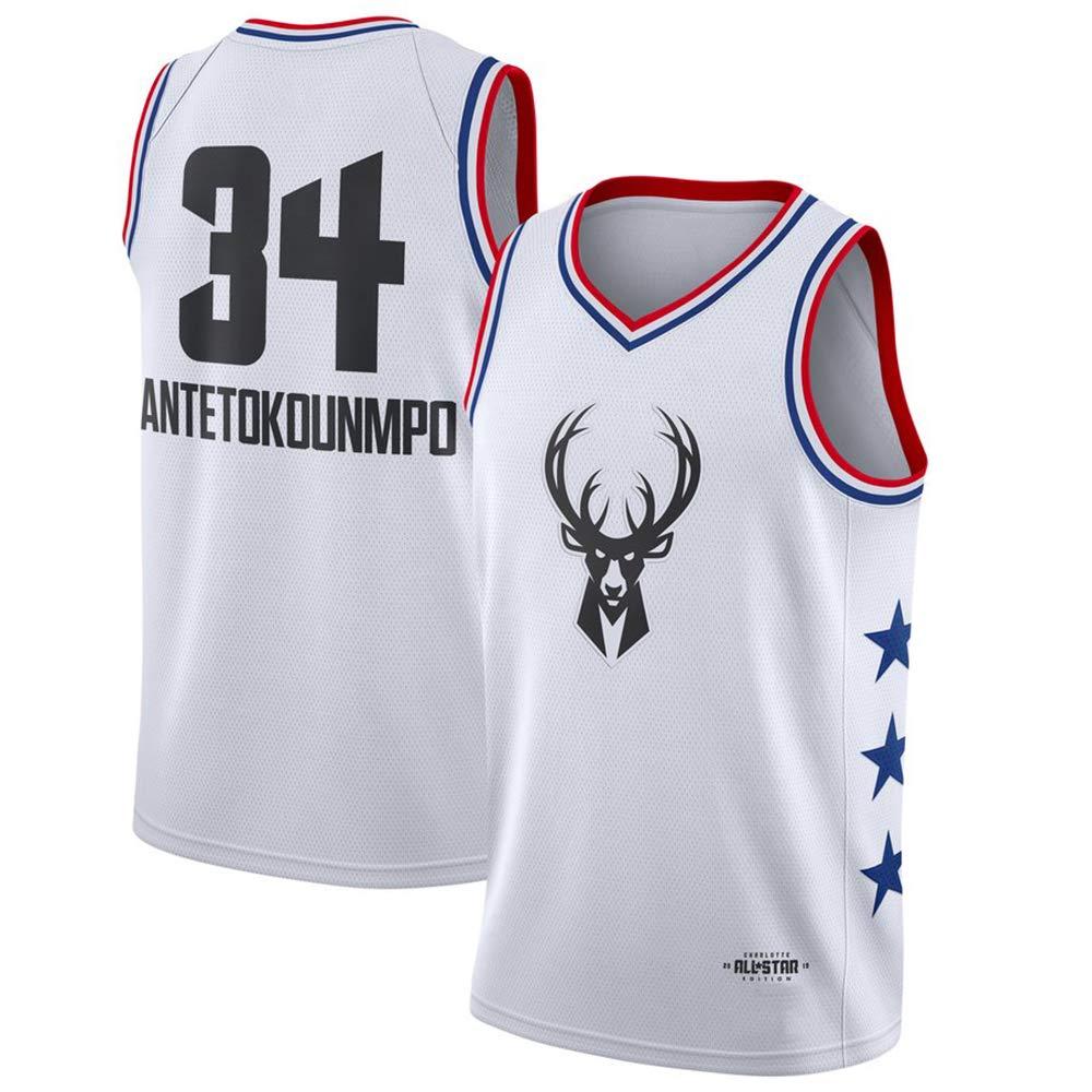 LITBIT Bucks Basketball Maglia all Star Milwaukee Uomo 34# Alfabeto Traspirante Asciugatura Rapida Maniche Sport Canotta,Bianca,S 170cm//50~65kg