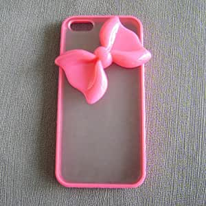 Morechoice Iphone 4 4S Case-Peach Pink Color Frosted Translucent Iphone Case with Lovely Pink Bowknot