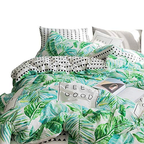 EnjoyBridal Tropical Leaves Duvet Bedding Cover Set Cotton Queen with Zipper Reversible Bedding Sets Leaf Triangle Pattern 2PC Pillow Covers Full Quilt Comforter Cover 3 Pieces,No ()