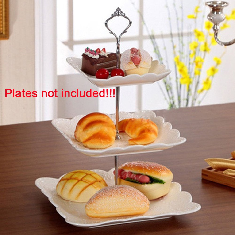 3 Tier Cake Fruit Food Plate Stand Zinc Alloy Cupcake Stand Round Serving Tray Platters Fitting Hardware Tool for Weddings, Tea Party, Holiday Dinners,Birthday Parties(Silver) by YOTHG (Image #5)