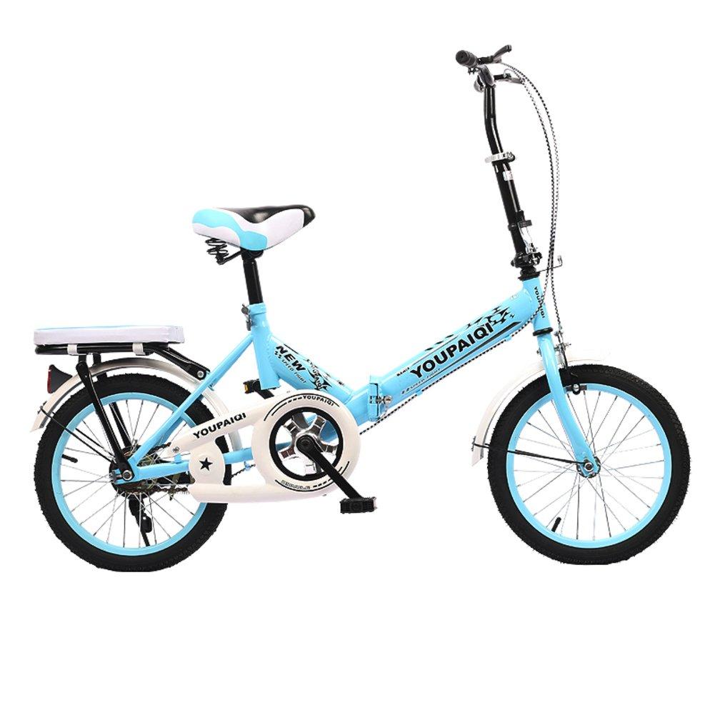 折りたたみ自転車,折りたたみバイク子供 学生 6-10 人の子供を高齢者 B07DKBGN85 16inch|青A 青A 16inch