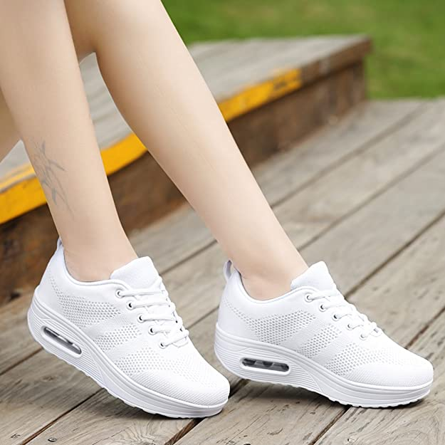Amazon.com | Women Comfort Walking Shoes Casual Tennis Lightweight Sneakers Wedges Air Cushion Slip On Fitness Shoes | Walking