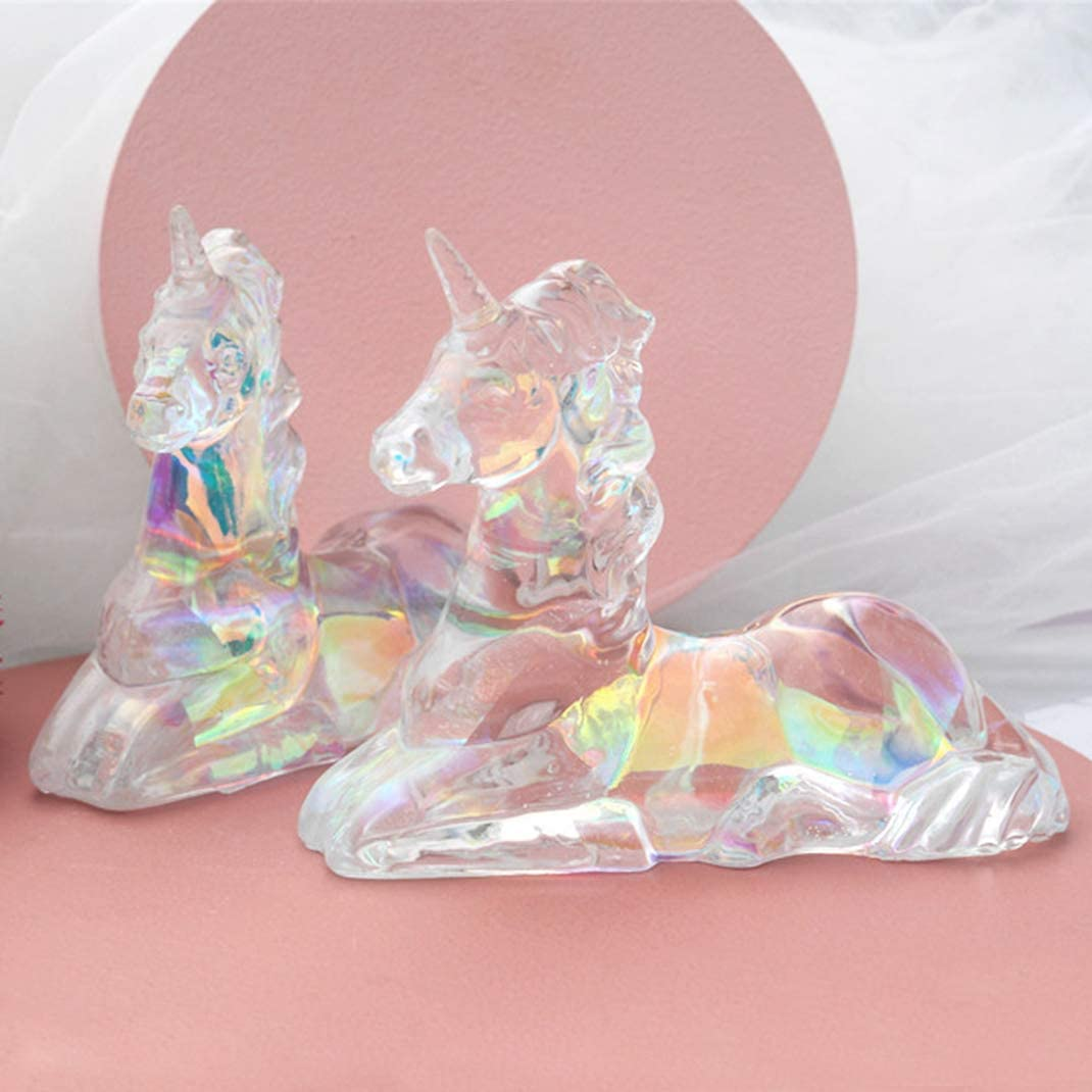 iSuperb Epoxy Resin Mould 3D Unicorn Mould Silicone Mould Crystal Casting Mould for DIY Decorations Crafts Transparent