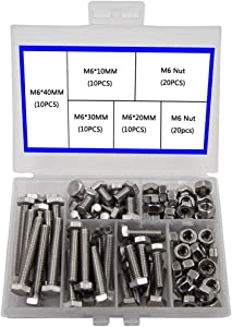 Newlng M6 304 Outer Corner Hexagonal Stainless Steel Hex Bolt Set Machinery Industry, Mechanical Hex Bolts and Nuts