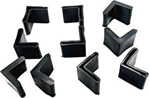 LYM 10 Pcs L Shaped Rubber Covers Furniture Angle Iron Foot Pads Black (25X25mm)