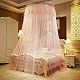 Per Enlarge Princess Dome Netting Curtains With Short Tassels Hanging Canopy Play Tent Mosquito Net For Bedroom Height 280cm/110.23in,Dome Diameter 100 cm/39.37in-Peach Red