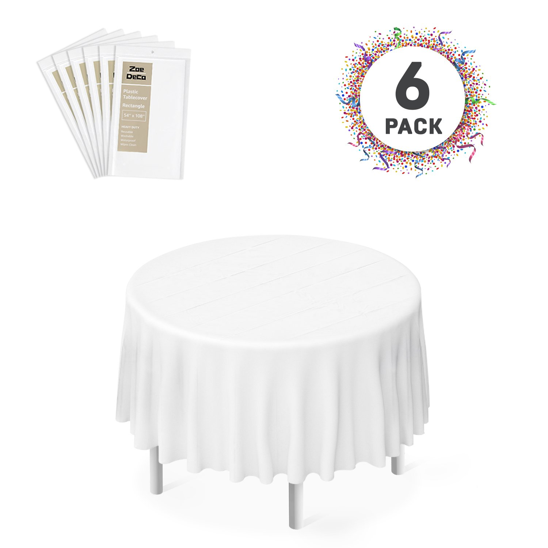 Zoe Deco Plastic Tablecloth, 84'' Diameter Round White Tablecloth - 6 Pack - Round Tablecloth for Parties, Graduations, and Picnics