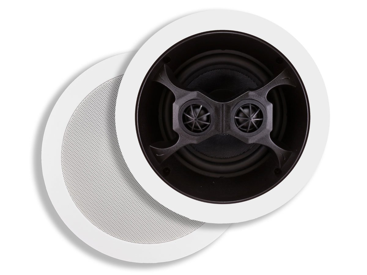 Monoprice 104619 Glass Composite 3-Way Dual Voice Coil In-Ceiling Speakers (Pair)