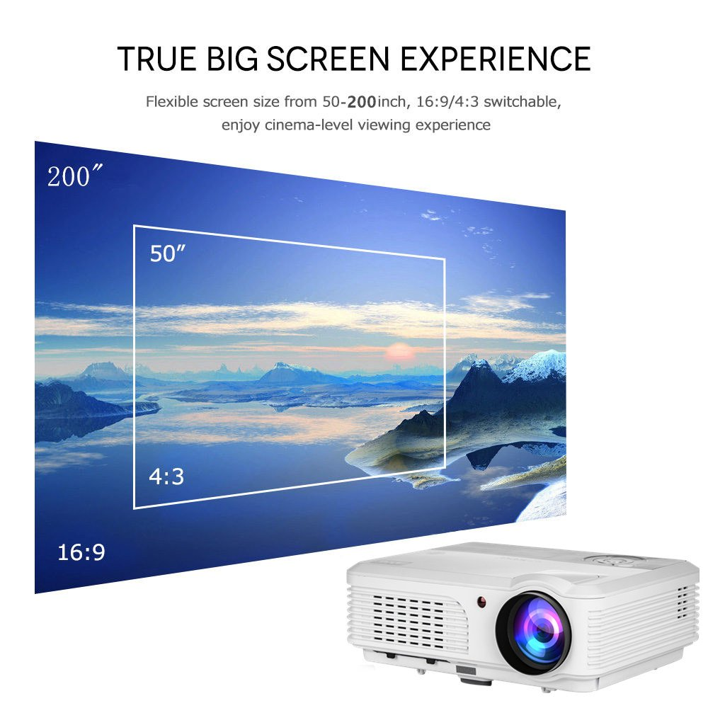 Wireless Bluetooth HD Projector 3200 Lumen Android 4.4 LCD Image System Home Theatre Projectors Support 1080p HDMI Airplay Screen Mirroring Multimedia LED Lamp 50,000hrs for Outdoor/Indoor Movie by EUG (Image #4)