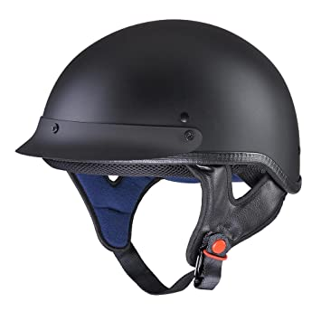Yescom Motocicleta Media Cara Casco Dot Aprobado Moto Cruiser Chopper Color Negro Brillante/Mate Negro