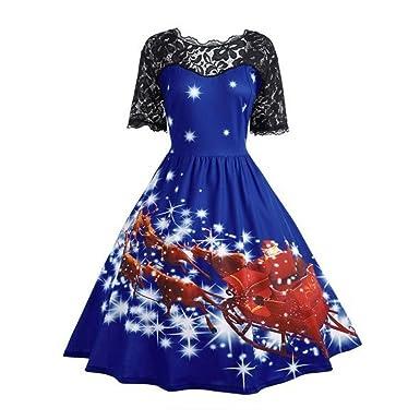 Weihnachten Partykleid für Frauen,FRIENDGG Damen Mädchen Vintage ...