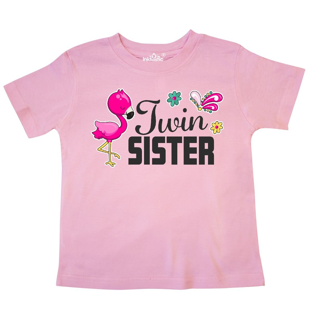 inktastic Twin Sister with Flamingo and Flowers Toddler T-Shirt