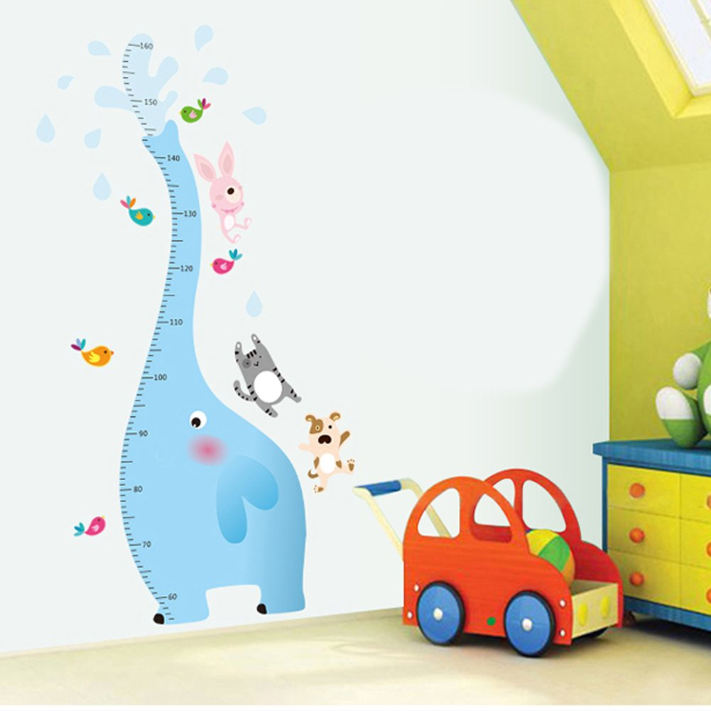 Winhappyhome Elephant Kids Height Measurement Growth Chart Wall Stickers for Children Bedroom Living Room Nursery Background Sticker Removable Decor Decals