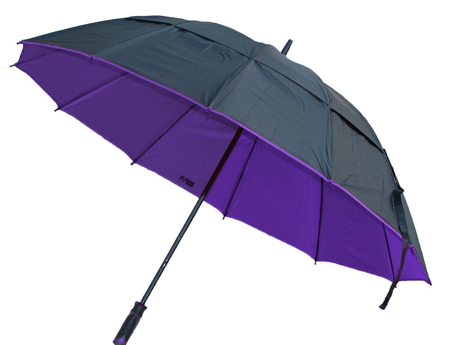 Black Aspen 62'' Golf Umbrella Double Vented Wind Resistant Canopy 190 Thread Count Nylon Fabric with Fiberglass Shaft, Black/Purple, X-Large