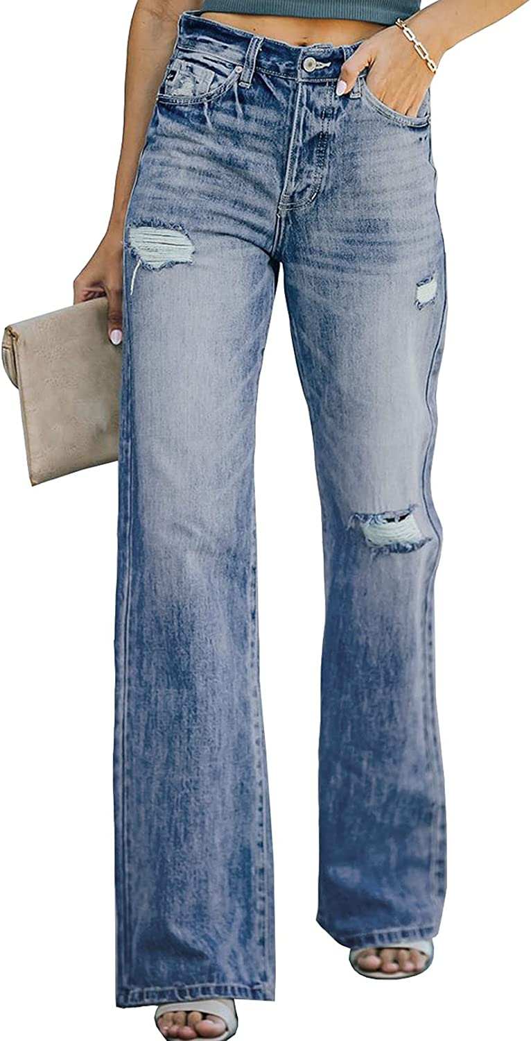 Sidefeel Women High Waist Distressed Flare Jeans Ripped Hole Denim Pants