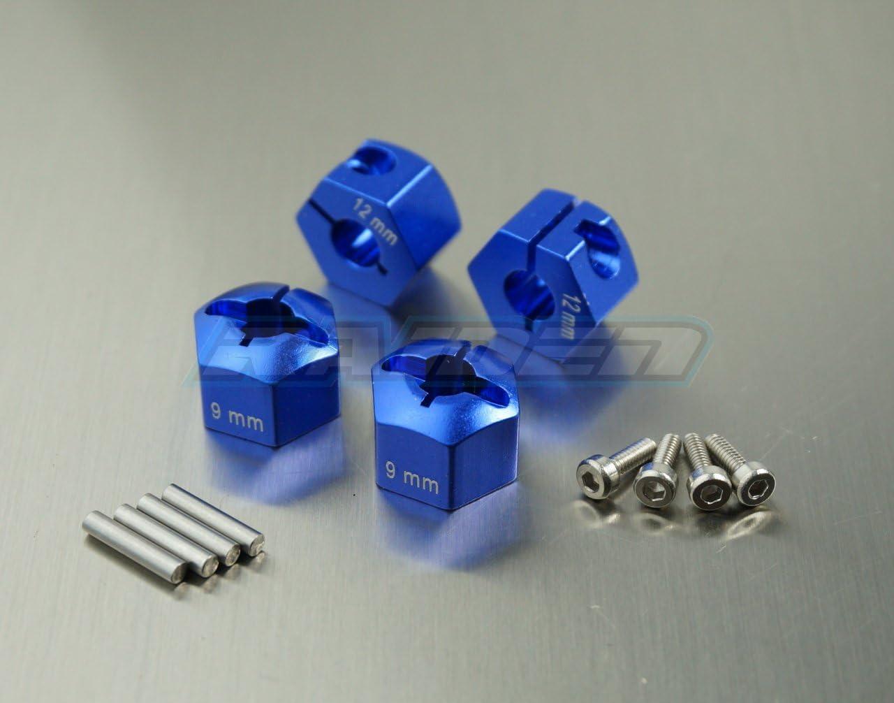 Raidenracing Aluminum Alloy 12mm X 9mm Widen Wheel Hub Hex Drive Adaptor for RC Crawler SCX10 F350 Wraith Blue