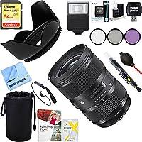 Sigma 588955 24-35mm F2 DG HSM Standard-Zoom Lens for Nikon Cameras + 64GB Ultimate Filter & Flash Photography Bundle