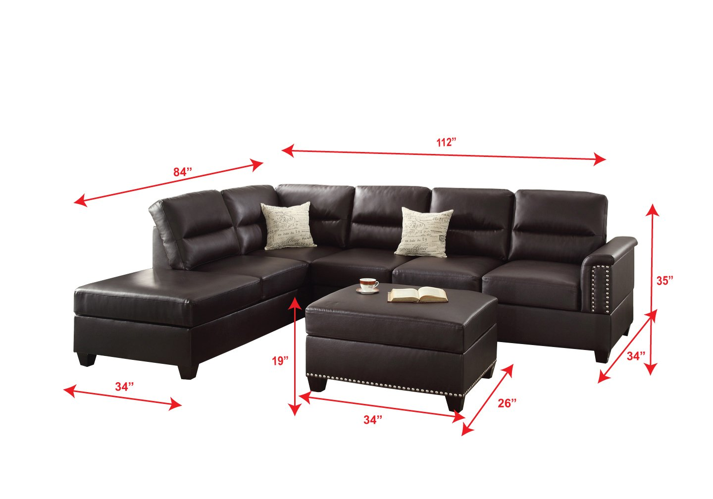 Poundex f7609 bobkona toffy bonded leather left or right hand chaise sectional with ottoman set espresso