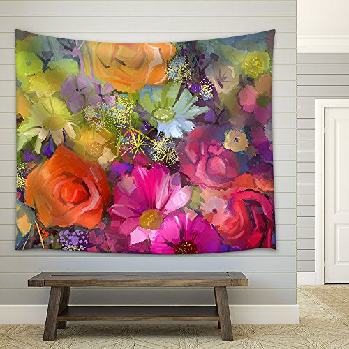 wall26 - Still Life of Yellow and red Colour Flowers .Oil Painting a Bouquet of Rose - Fabric Wall Tapestry Home Decor - 51x60 inches