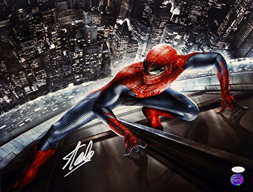 Stan Lee Autographed 16x20 Spider Man Clinging to Building Photo- JSA W Auth