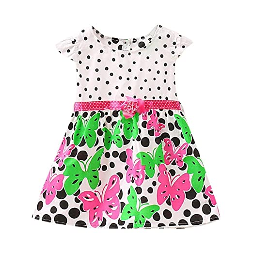 ShiTou Girls Dress&&Girls Dot Butterfly Print Flower Casual Dress Clothes (Hot ...