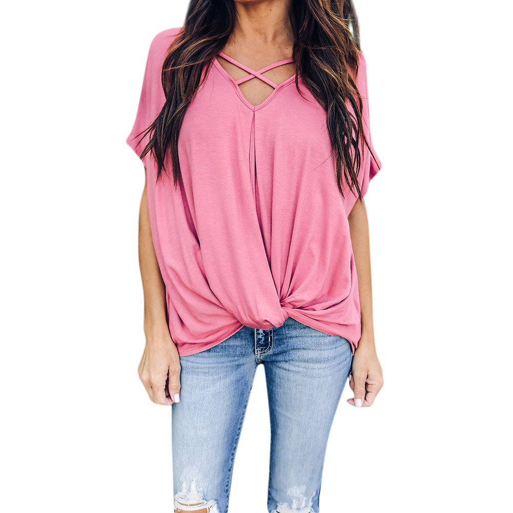 Women Blouse Sale VANSOON Fashion Solid O-Neck Dance Short Sleeve Sport Ruched T-Shirt Top for Teen Girls