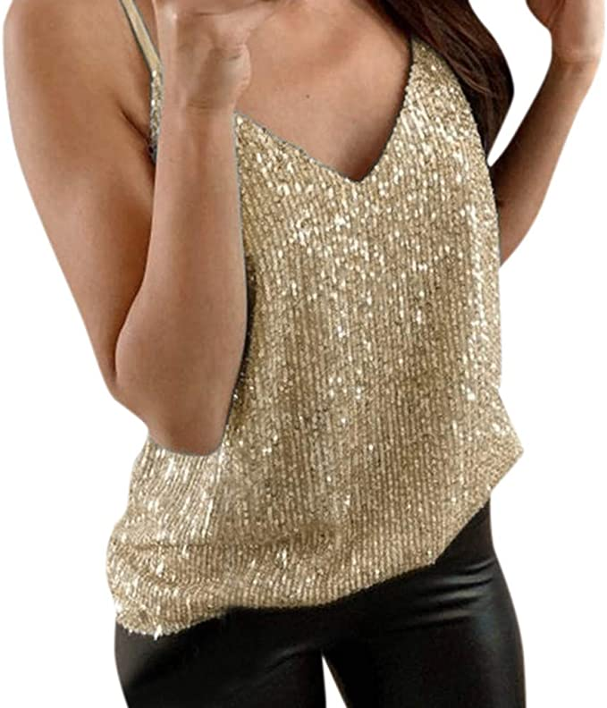 Women's Sequin Tops Glitter Party Strappy Tank Tunic Tops Vest Camisole Blouse