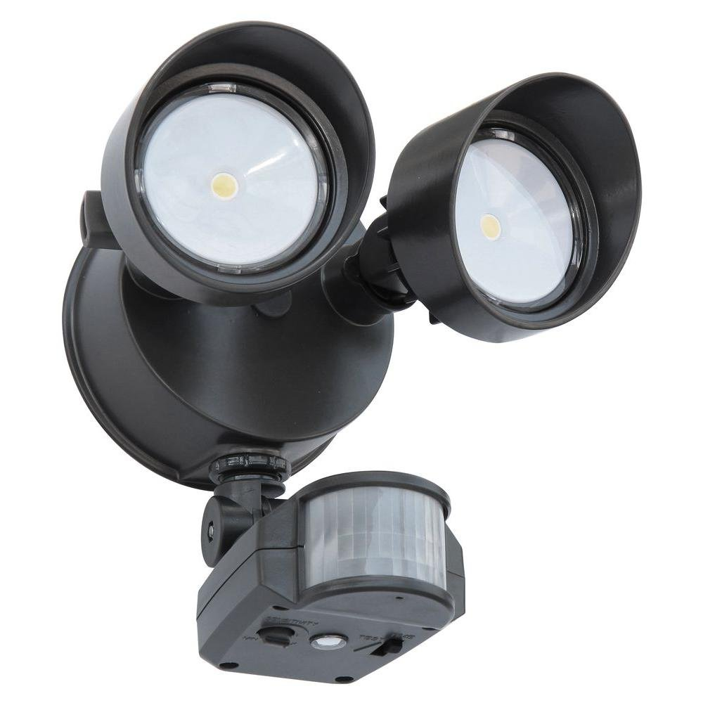 Lithonia Lighting OLF 2RH 40K 120 MO BZ M6 Contractor Select Twin Head Outdoor Integrated LED Motion Sensor Security Flood Light Round 4000K Black Bronze