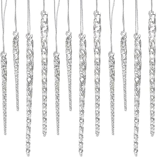Kurt Adler Clear Glass Icicle Christmas Holiday Tree Ornament Decor 24 Pieces